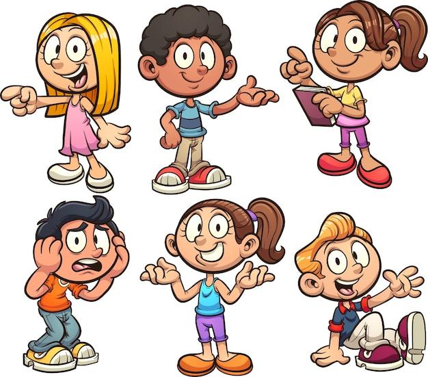Kreskówka dzieci z różnymi pozami i wyrażeniami