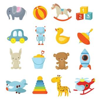 Kreskówka dzieci zabawki kolekcja ikon wektorowych