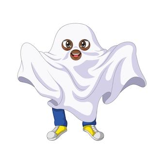 Kreskówka dzieciak ubrany w strój ducha