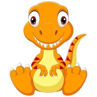 Kreskówka dziecko dinozaur tyranozaura siedzi