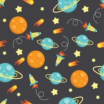Kreskówka dziecko rakieta galaktyki wzór bez szwu