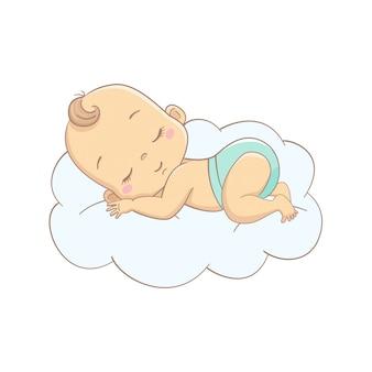 Kreskówka dziecko śpi na chmurze.