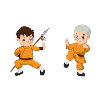 Kreskówka dziecko walczy mnich shaolin