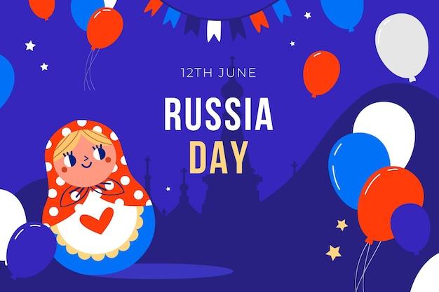 Kreskówka dzień rosji tło z balonów