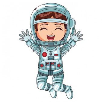 Kreskówka dziewczyna astronauta
