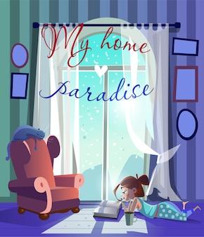 Kreskówka dziewczyna i kot na krześle w pobliżu okna