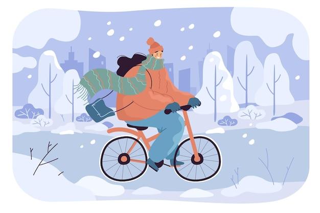 Kreskówka dziewczyna jedzie na rowerze na zaśnieżonej drodze w mieście