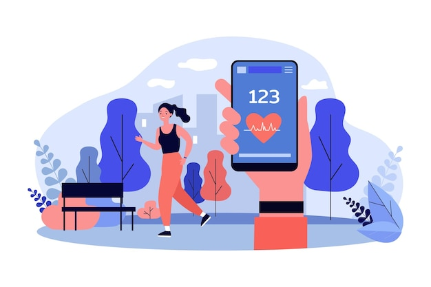 Kreskówka dziewczyna jogging z monitorem aktywności w parku miejskim