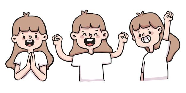 Kreskówka dziewczyna szczęśliwy, podekscytowany i sukces zestaw ilustracji