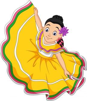 Kreskówka dziewczyna tańczy, święto cinco de mayo