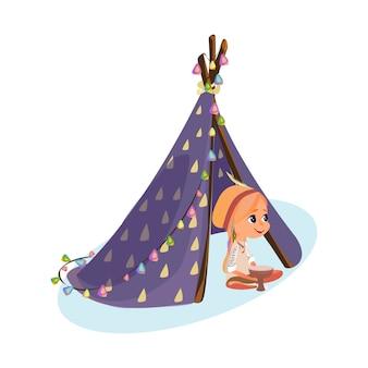 Kreskówka dziewczyna w indiańskim stroju indiańskim