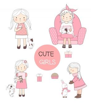 Kreskówka dziewczyny z zwierzę rysowane ręcznie stylu