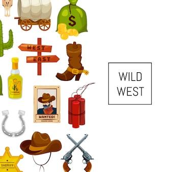 Kreskówka dzikiego zachodu elementy z copyspace ilustracją