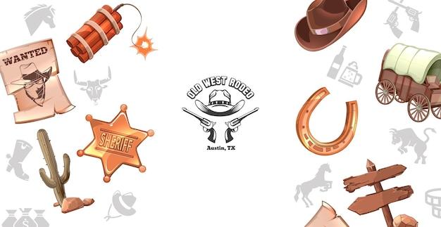 Kreskówka dzikiego zachodu koncepcja z plakatem gończym dynamit odznaka szeryfa kaktus kapelusz kowbojski wózek podkowy drewniany szyld