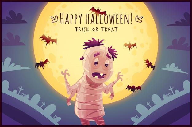 Kreskówka egipska mumia na tle nieba w pełni księżyca szczęśliwy plakat halloween cukierek albo psikus ilustracja karty z pozdrowieniami
