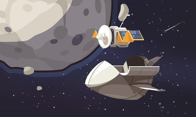 Kreskówka eksploracji wszechświata ze statkiem kosmicznym i satelitą lecącym na orbicie wokół badanej planety