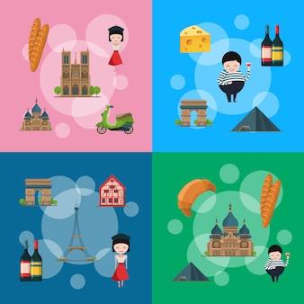 Kreskówka elementy francji