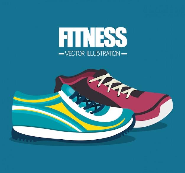 Kreskówka elementy sportowe fitness trampki