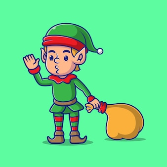 Kreskówka elf dobrze się bawi