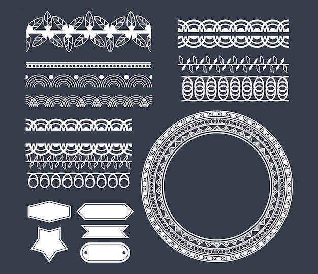 Kreskówka emblematy dekoracyjne wstążki
