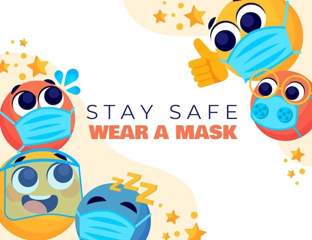 Kreskówka emoji z tłem maski na twarz