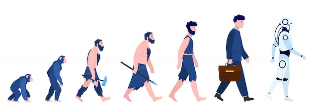 Kreskówka ewolucja człowieka na białym tle mieszkanie