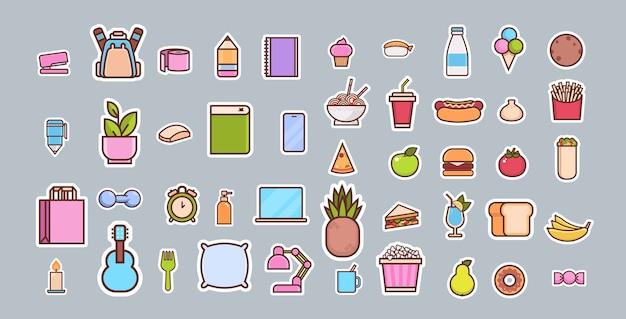 Kreskówka fast food i kolekcja różnych ikon przedmiotów