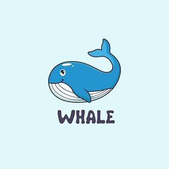 Kreskówka figlarny ikona logo wieloryba