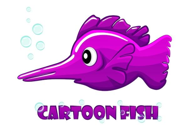 Kreskówka fioletowy miecznik pływa w wodzie.
