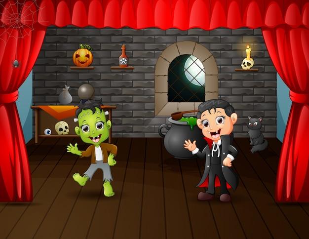 Kreskówka frankensteina i wampira na scenie