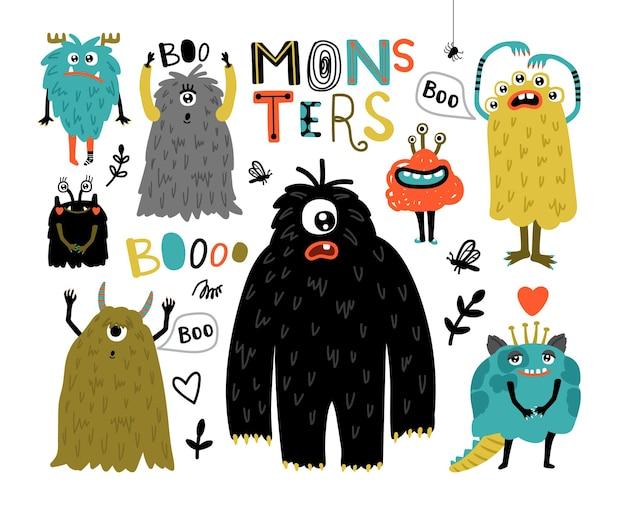 Kreskówka futrzane potwory. śliczne stworzenia z zabawną twarzą, małe zabawne symbole horroru, humor znaków dla maskotki, potwory ilustracji wektorowych do naklejek na białym tle