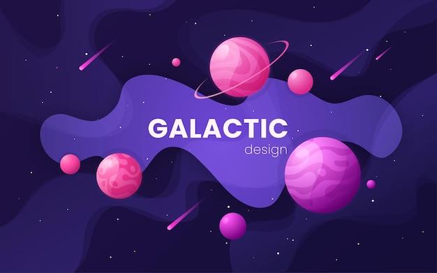 Kreskówka galaktyka futurystyczna ilustracja kosmosu