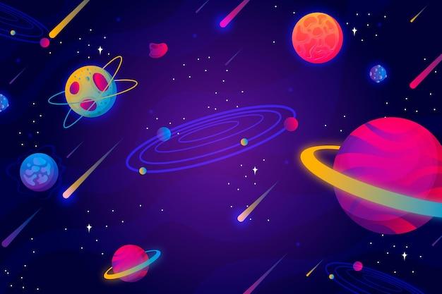 Kreskówka galaktyka z gwiazdami w tle