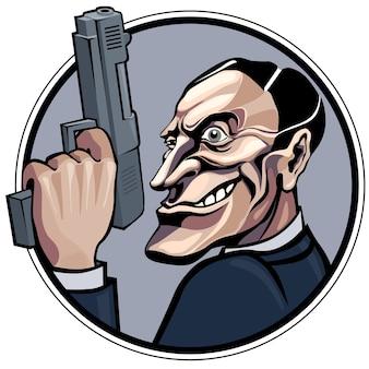 Kreskówka gangstera z ilustracją pistoletu