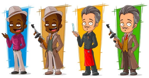 Kreskówka gangsterów i zestaw znaków detektywistycznych