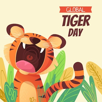 Kreskówka globalny dzień tygrysa ilustracja