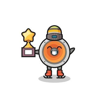 Kreskówka głośnika jako gracz na łyżwach trzyma trofeum zwycięzcy, ładny styl na koszulkę, naklejkę, element logo