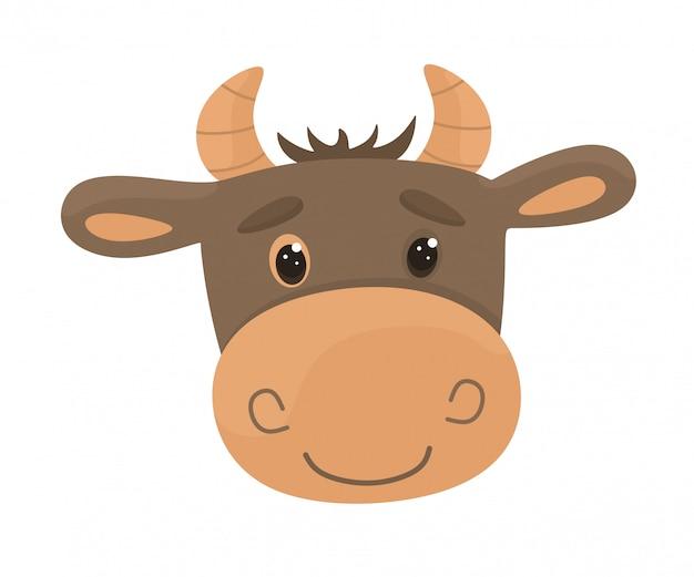 Kreskówka głowa byka. ilustracja w stylu płaski.