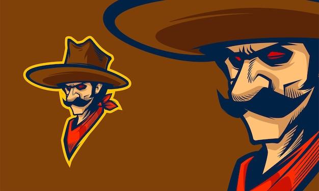 Kreskówka głowa kowboja premium wektorowa maskotka ilustracja