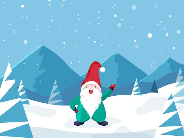 Kreskówka gnome postać stojąca na tle zimowego krajobrazu