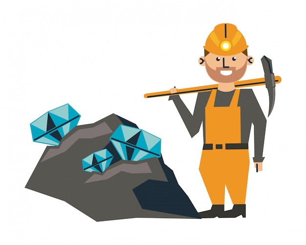 Kreskówka górnictwa i pracownika