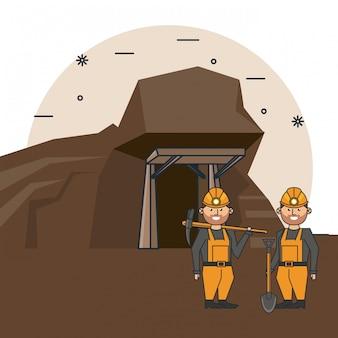 Kreskówka górników pracowników