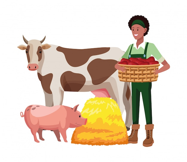 Kreskówka gospodarstwa, zwierzęta i rolnik