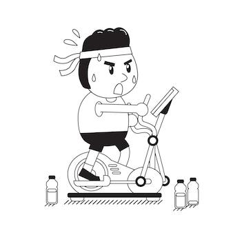 Kreskówka gruby mężczyzna ćwiczy na elliptical maszynie