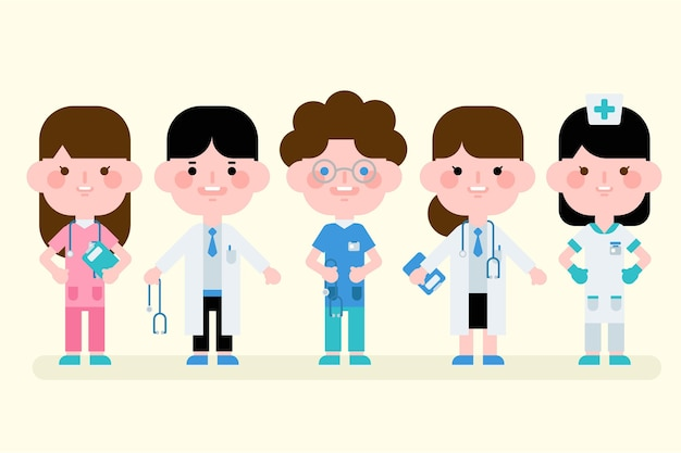 Kreskówka grupa lekarzy i pielęgniarek