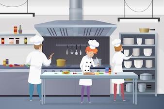 Kreskówka grupy kucharzy pracujących w kuchni