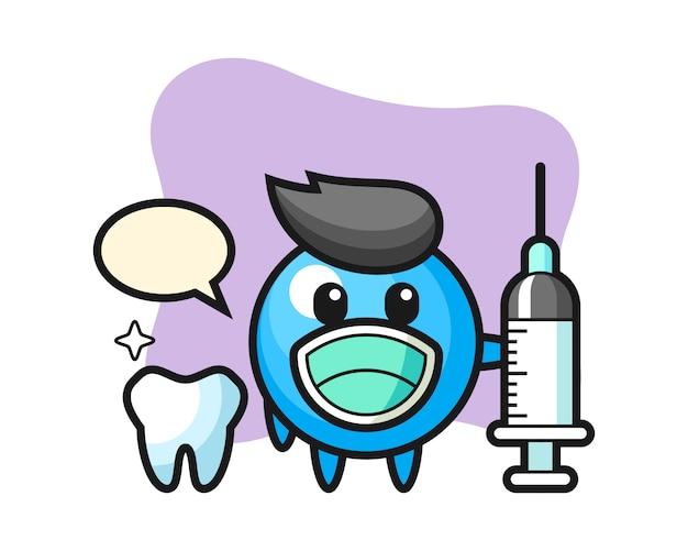 Kreskówka gumowa piłka jako dentysta