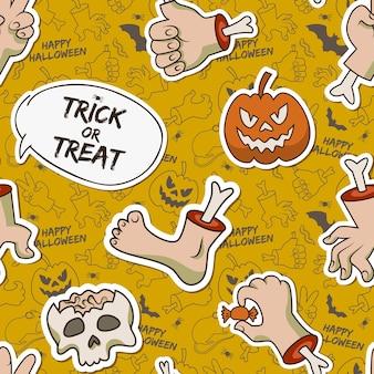 Kreskówka halloween bezszwowy wzór z papierową czaszką zombie ramiona noga przerażająca dynia gąsienica cukierek