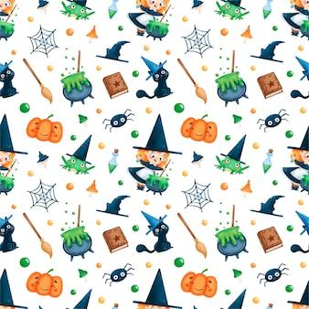 Kreskówka halloween mała czarownica bez szwu wzór