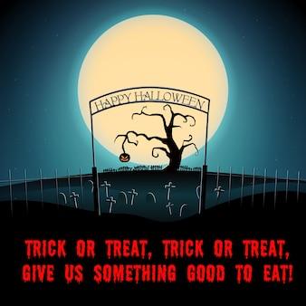 Kreskówka halloween straszny nocny plakat z tekstem suche drzewo i zła dynia na cmentarzu